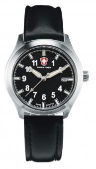 SWISS TIMER Uhr schwarz Lederband