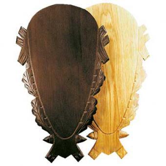 Hirsch Eichenholzschild geschnitzt dunkel