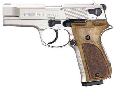 Walther P88 Compact Kal. 9 mm PAK vernickelt Holzgriffschalen